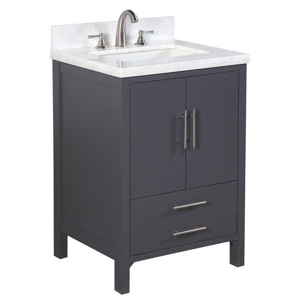 California 24 Inch Vanity Carrara Charcoal Gray 24 Inch