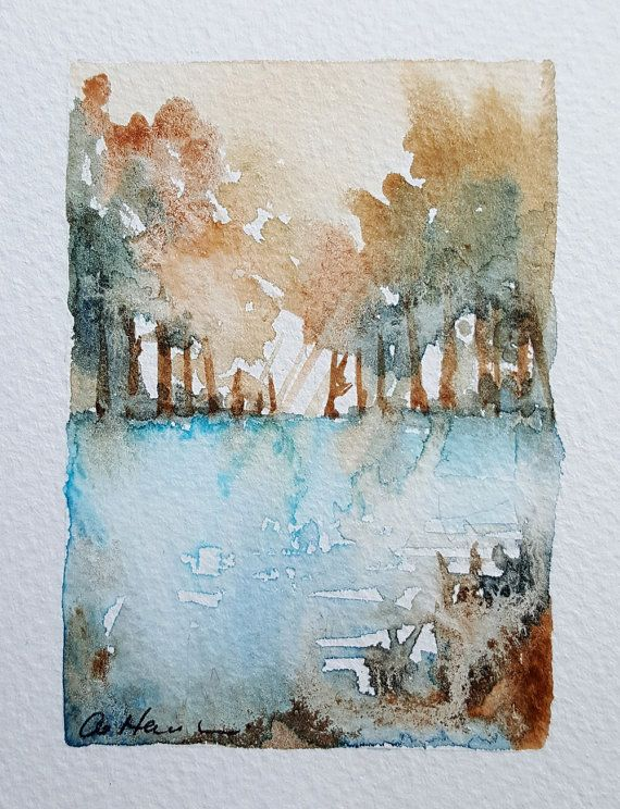 15 Blue Pool Mini Watercolour Painting By Artist By