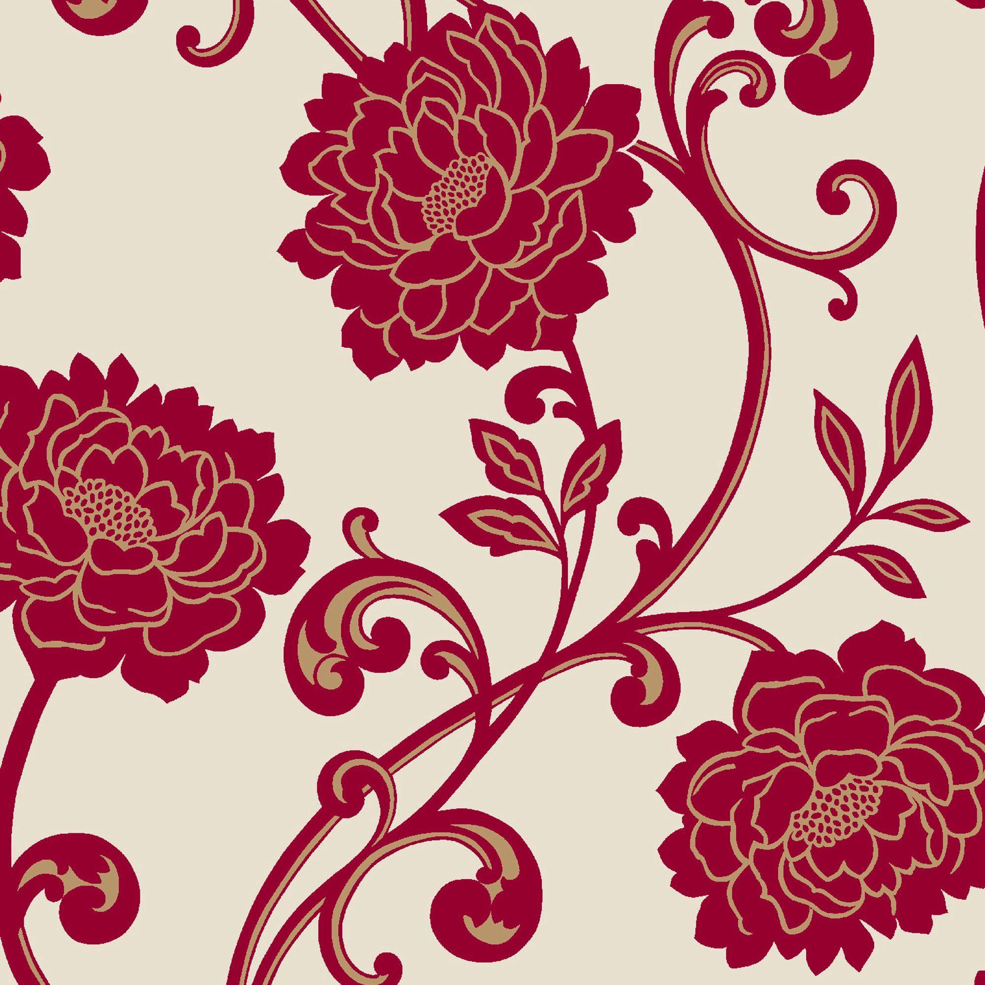 Alanis Floral Cream Red Flock Wallpaper Departments Diy At B Q Black Floral Wallpaper Floral Wallpaper Border Flock Wallpaper