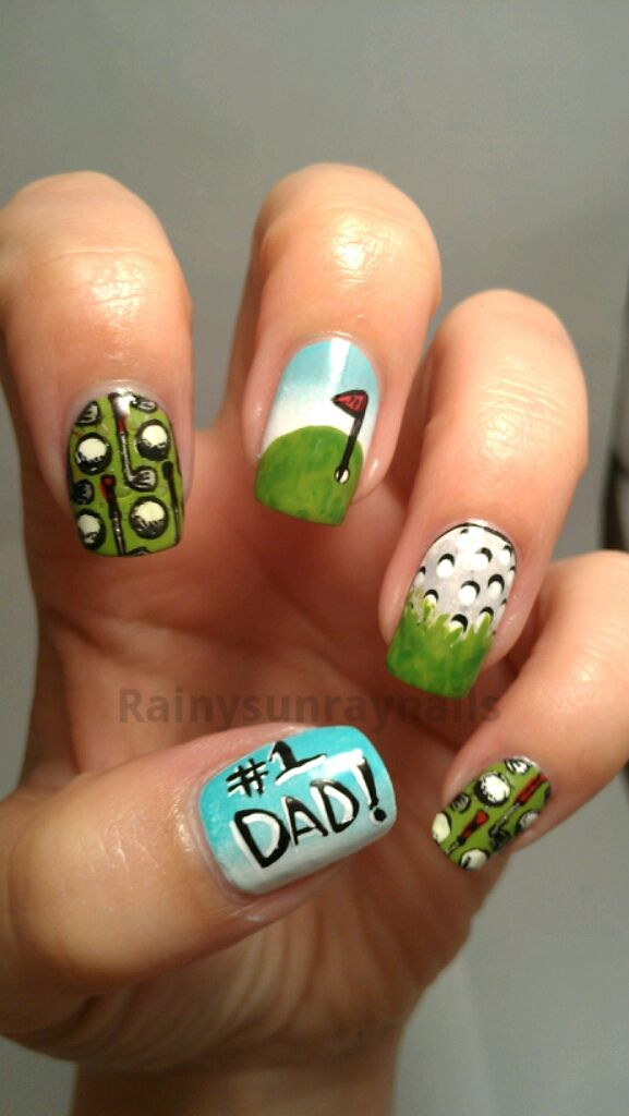 Golf Nail Art Sohere Is My Take On Fathers Day Nails Nails In