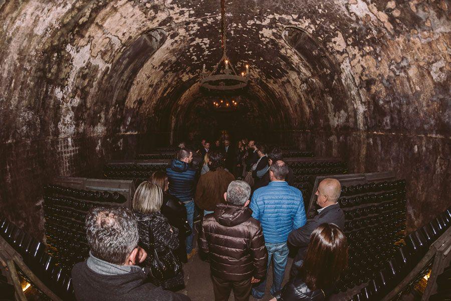 Visiting the ancient Berlucchi cellars, Franciacorta, Italy