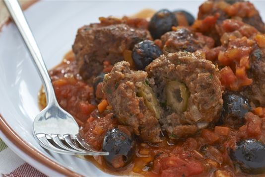 Olive-stuffed Beef Meatballs With Tomato And Olive Sauce
