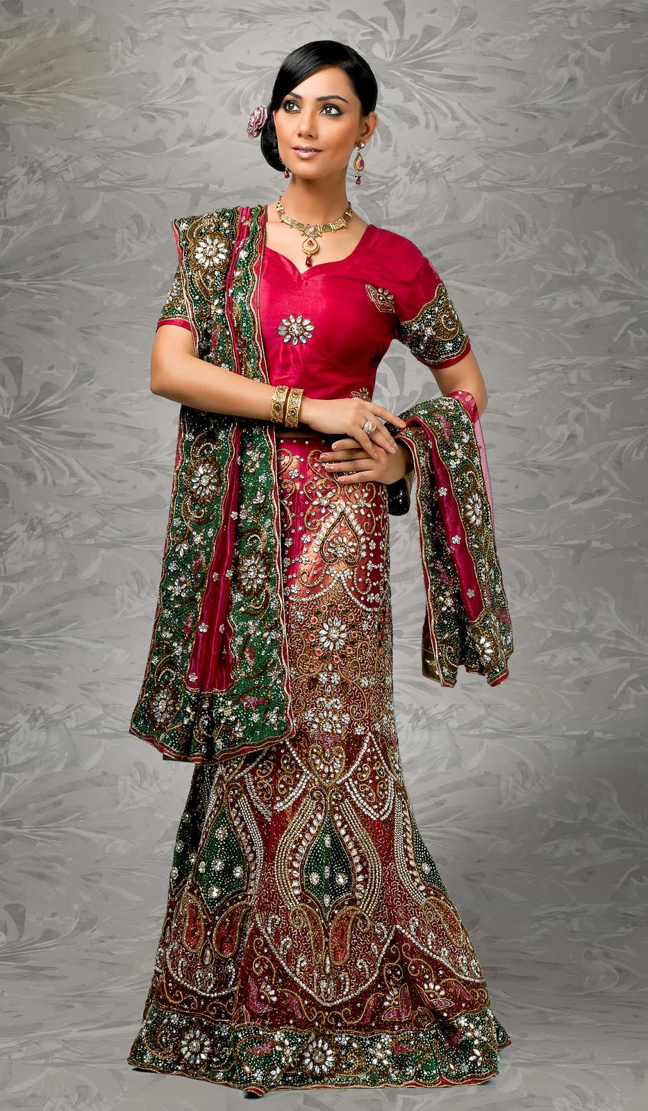 Image result for red greenbrocade lehenga