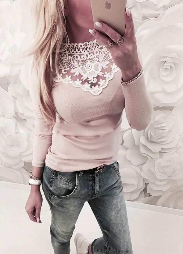 4bf581c9f0b5 Fashion Women Long Sleeve Shirt Casual Lace Blouse Loose Cotton Tops TShirt