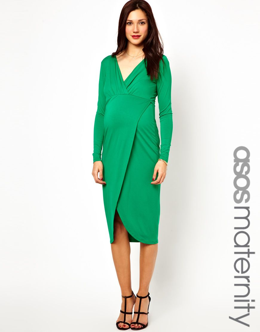 ASOS Maternity Midi Dress With Wrap Skirt | Momness | Pinterest ...