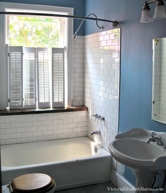 Our Old House Bathroom Has A Large Window In The Shower See Our Diy Solution To Cove Bathroom Remodel Cost Bathroom Window Treatments Guest Bathroom Remodel