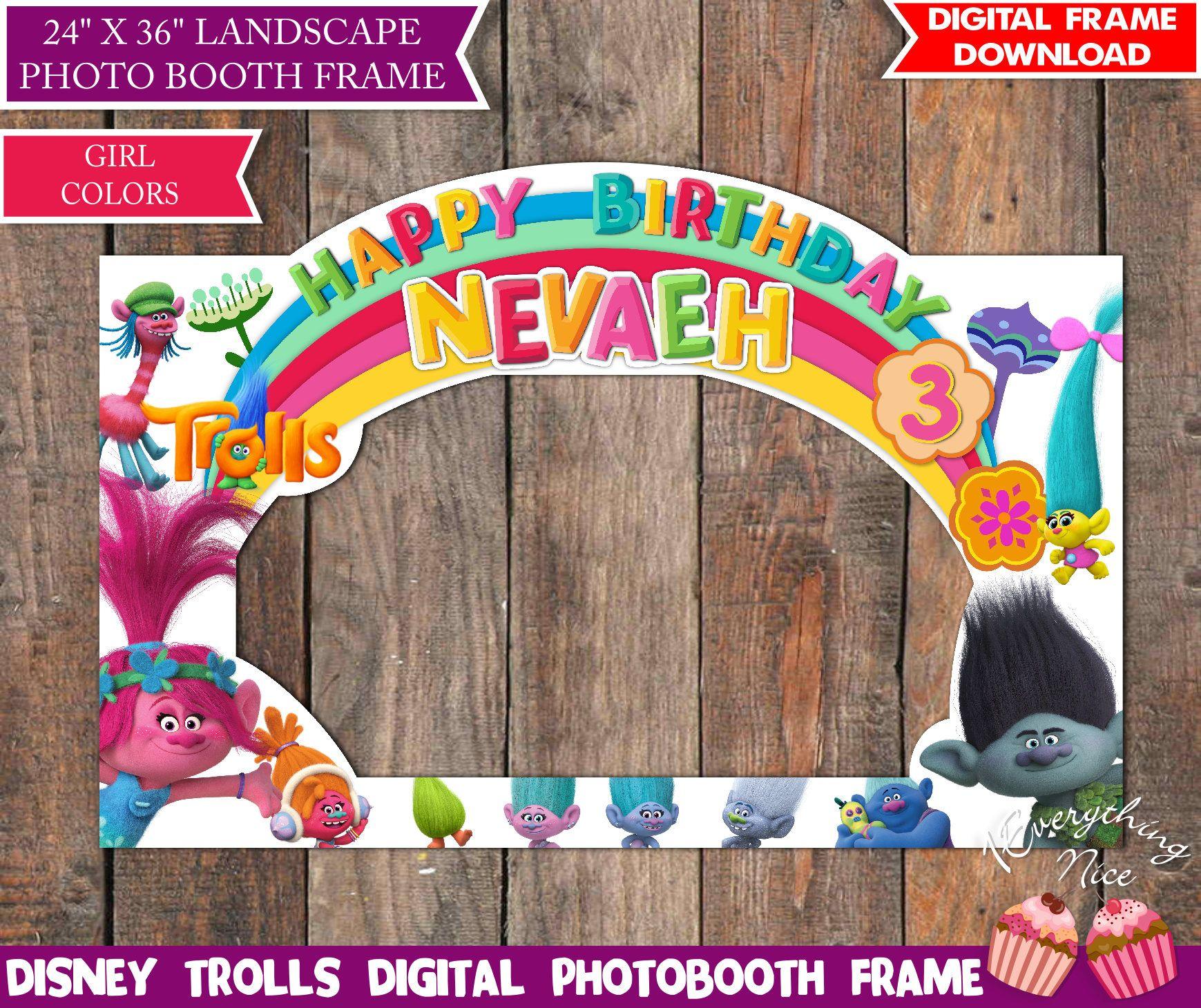 Trolls Birthday Photo Booth Frame LANDSCAPE Digital, Photo Prop Girl ...