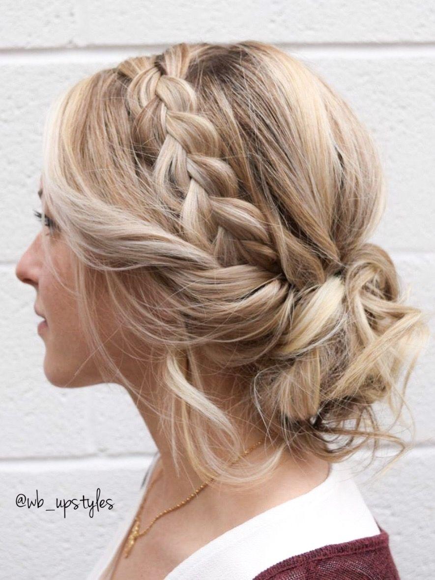 Dutch Braid With A Whimsy Low Bun Wedding Hair Inspired Beautiful Wedding Hairstyle Hair By Wb Ups Medium Length Hair Styles Medium Hair Styles Hair Styles