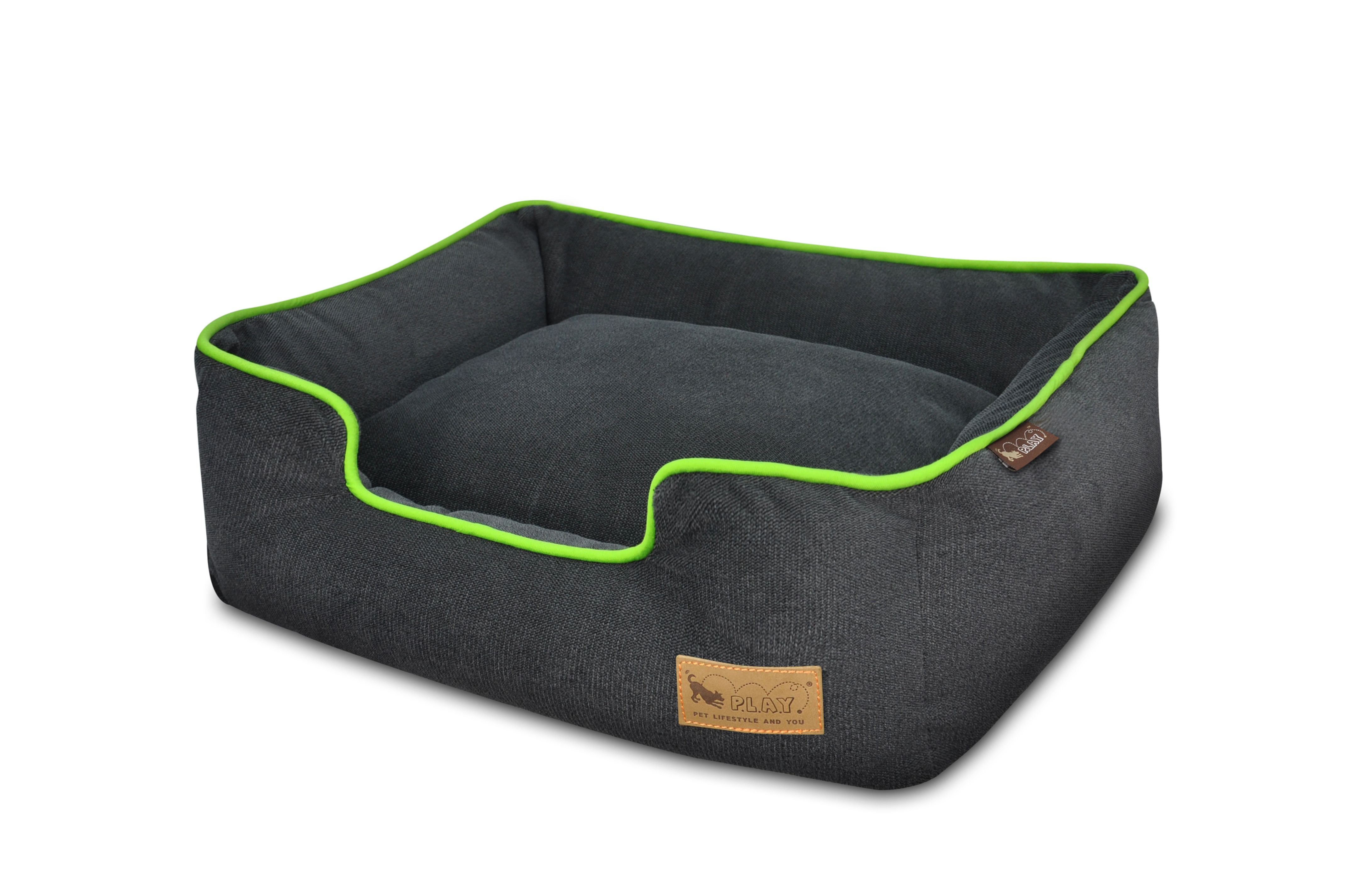 Urban Plush Dog Lounge Bed in Medieval Blue and Lime