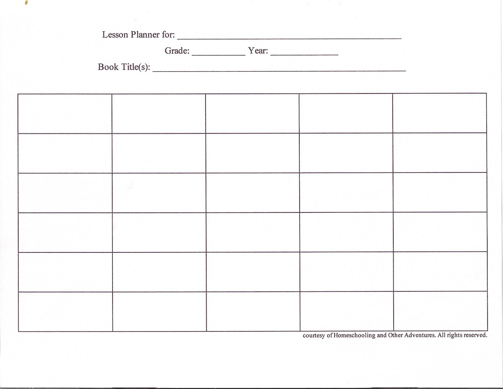 Printable Blank Weekly Lesson Plan Grid Cakepins
