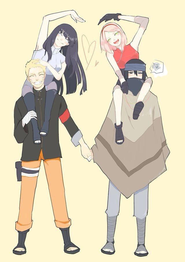 Sasuke Naruto Sakura E Hinata Naruto Pinte