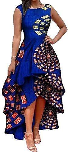 Best Seller Womens African Dress Formal Prom Dashiki Print Sleeveless Peplum Fit  Flare Midi High Low Dress online - Greattopstar #africandressstyles
