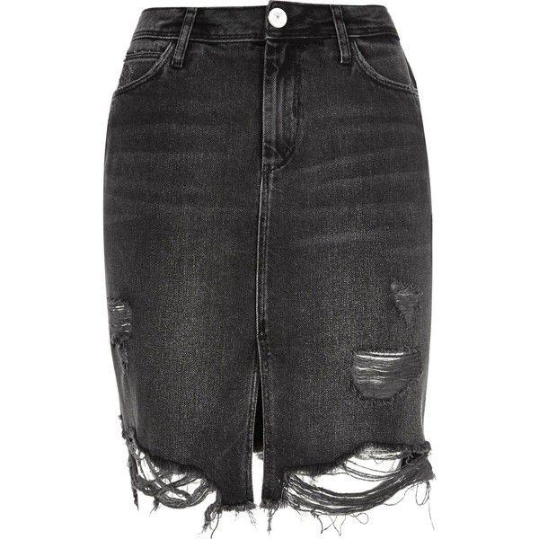 2df3eb8650 Black washed ripped denim midi skirt featuring polyvore, women's fashion,  clothing, skirts, bottoms, denim skirt, mid calf denim skirts, knee length  denim ...