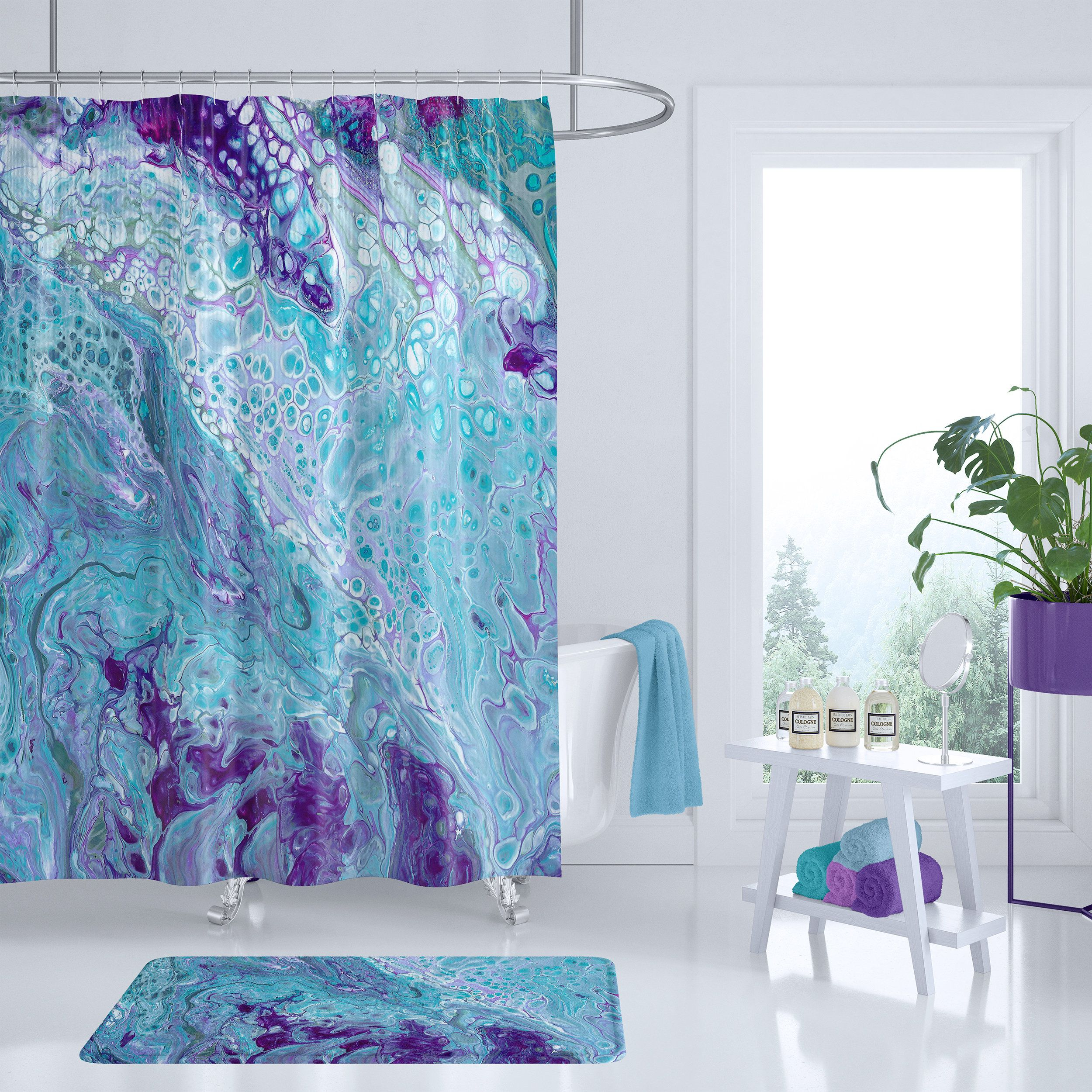 Marble Shower Curtain turquoise and purple, modern