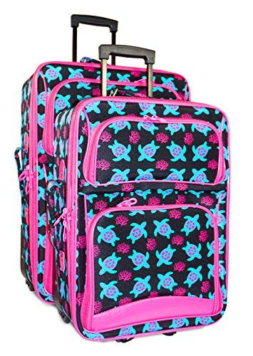 Ever Moda 2 Piece Expandable Luggage Set Nautical Turtle Print Blue Pink *** Want additional info? Click on the image.
