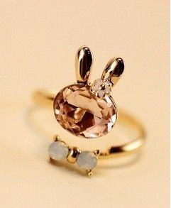 Crystal rabbits bow opening Ring - http://zzkko.com/note/11265 $3.43
