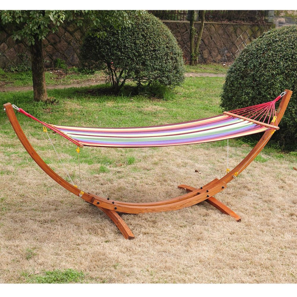 Double hammock with stand outdoor patio wooden arc heavy