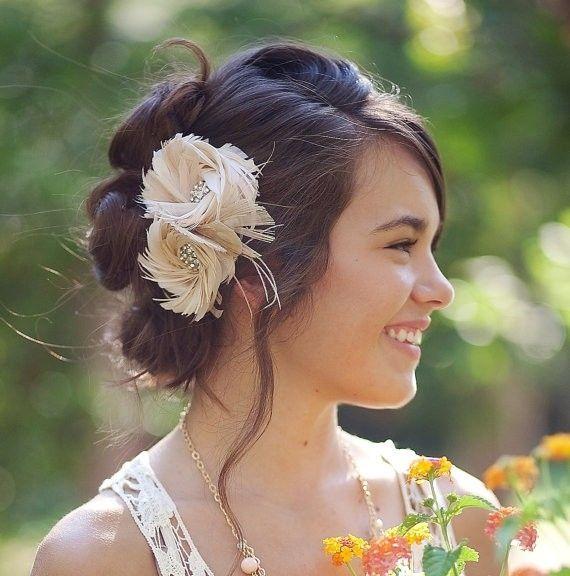 Blush Feather Fascinator Flower, Hair Accessories, Women
