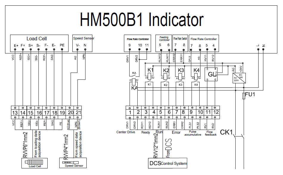 HM500B1 weighing indicator electrical diagram wiring for belt scale on