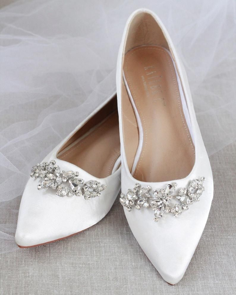 Off White Satin Pointy Toe Flats With Sparkly Leaves Etsy Bridesmaid Shoes Wedding Shoes Sparkly Wedding Shoes