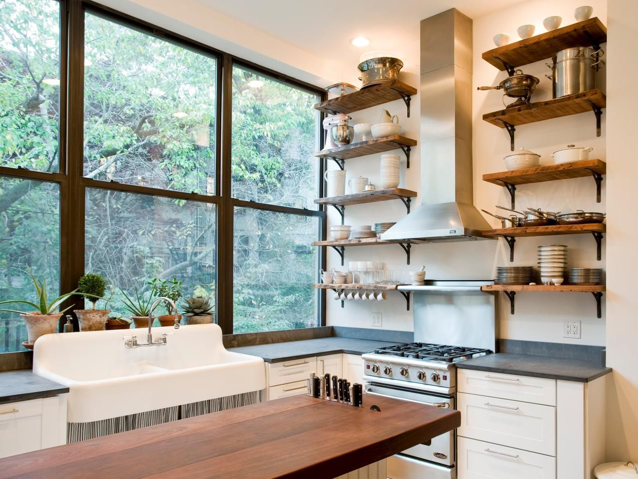 Kitchen Storage Ideas | Block island, Open shelves and Butcher blocks