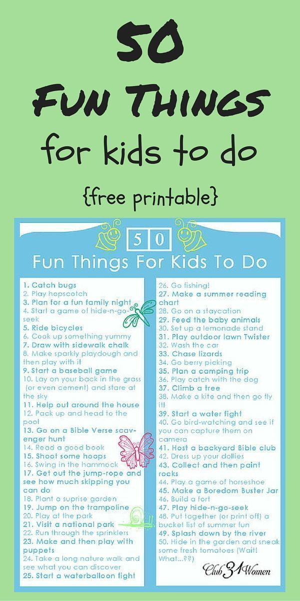 50 Fun Things For Kids to Do - Cool kids, Kids parenting, Fun, Kids, Family fun, Kids and parenting - Now it's not that I'm a mean mommy  Because I'm really not  But I'll tell you something I'm not too crazy about seeing my kids' sweet faces glued to a screen— the computer, the television, the whatever  Especially when there's fresh air outside and new adventures to be had  So that's why you'll hear me announce …