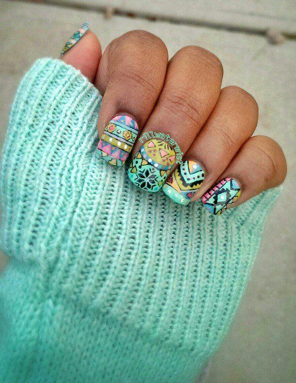 65 Colorful Tribal Nails Make You Look Unique | Diseños de uñas ...