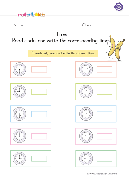 Time Read Clocks And Write The Corresponding Time Time Worksheets Telling Time Worksheets 1st Grade Math Worksheets