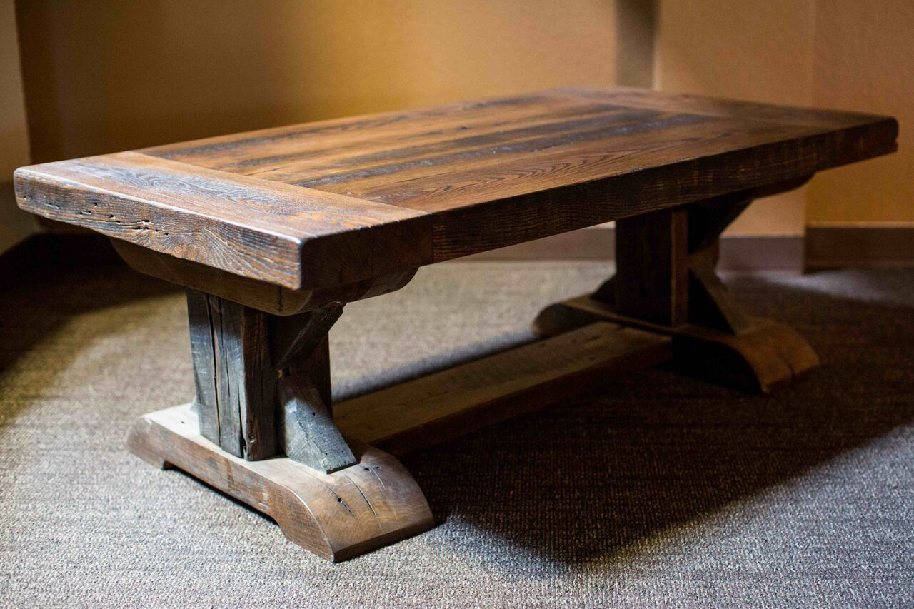 Reclaimed Wood Coffee Table With Trestle Base By Peter Thomas Designs In Phoenix Az