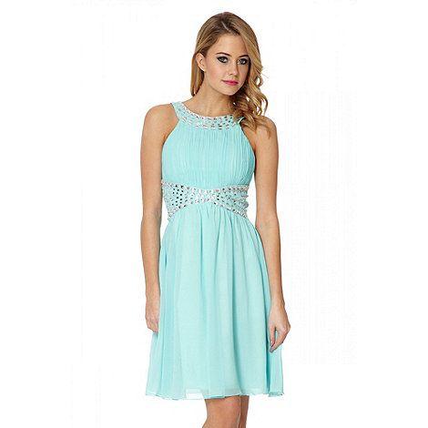 Quiz Aqua Chiffon Bead Embellished Dress- at Debenhams.com   Wedding ...