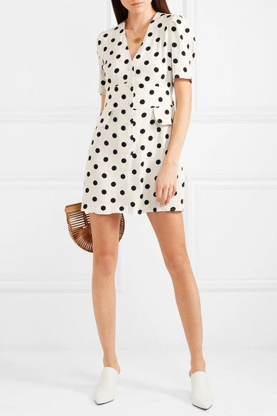 Laura Polka-dot Crepe Mini Dress - White Rixo London Explore Online Clearance Low Cost Clearance Prices Cheap Classic Clearance Get To Buy vshfuKm