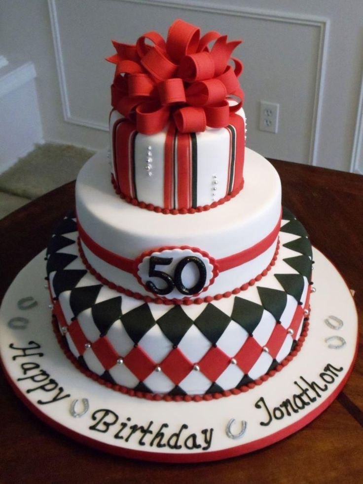 A 50th birthday cake idea for a man in red black silver See