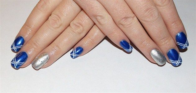 Awesome Blue And Silver Nails Fashion Pinterest Silver Nail