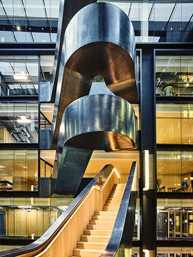 google office in uk. Showing The Gradual Increase In Balustrade Height - Google Offices, 6 Pancras Square, London Office Uk F