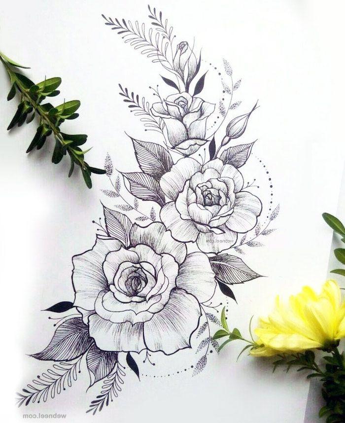 1001 images de dessin de fleur pour apprendre dessiner dessin tatouagr tatouage dessin - Coloriage fleur tres jolie ...