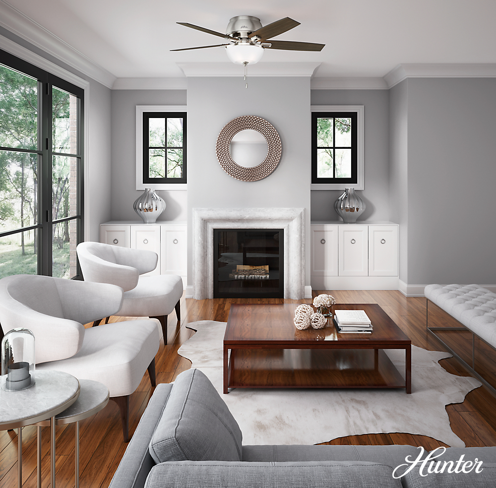 The Hunter Donegan Low Profile Ceiling Fan Boasts A Sophisticated Design With Casual Appeal The 5 Living Room Grey Living Room Wood Floor Family Room Design