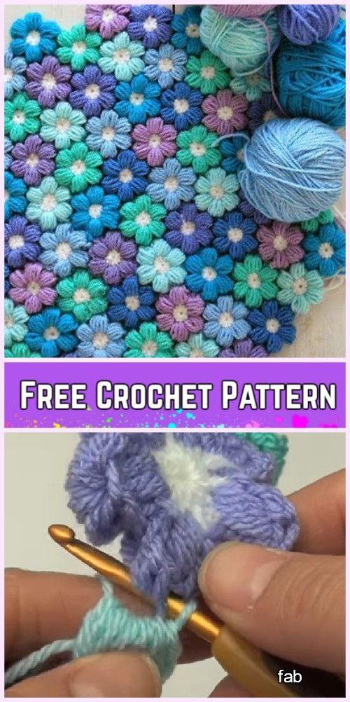 Crochet Puff Stitch Flower Blanket Free Pattern | Плед | Pinterest ...