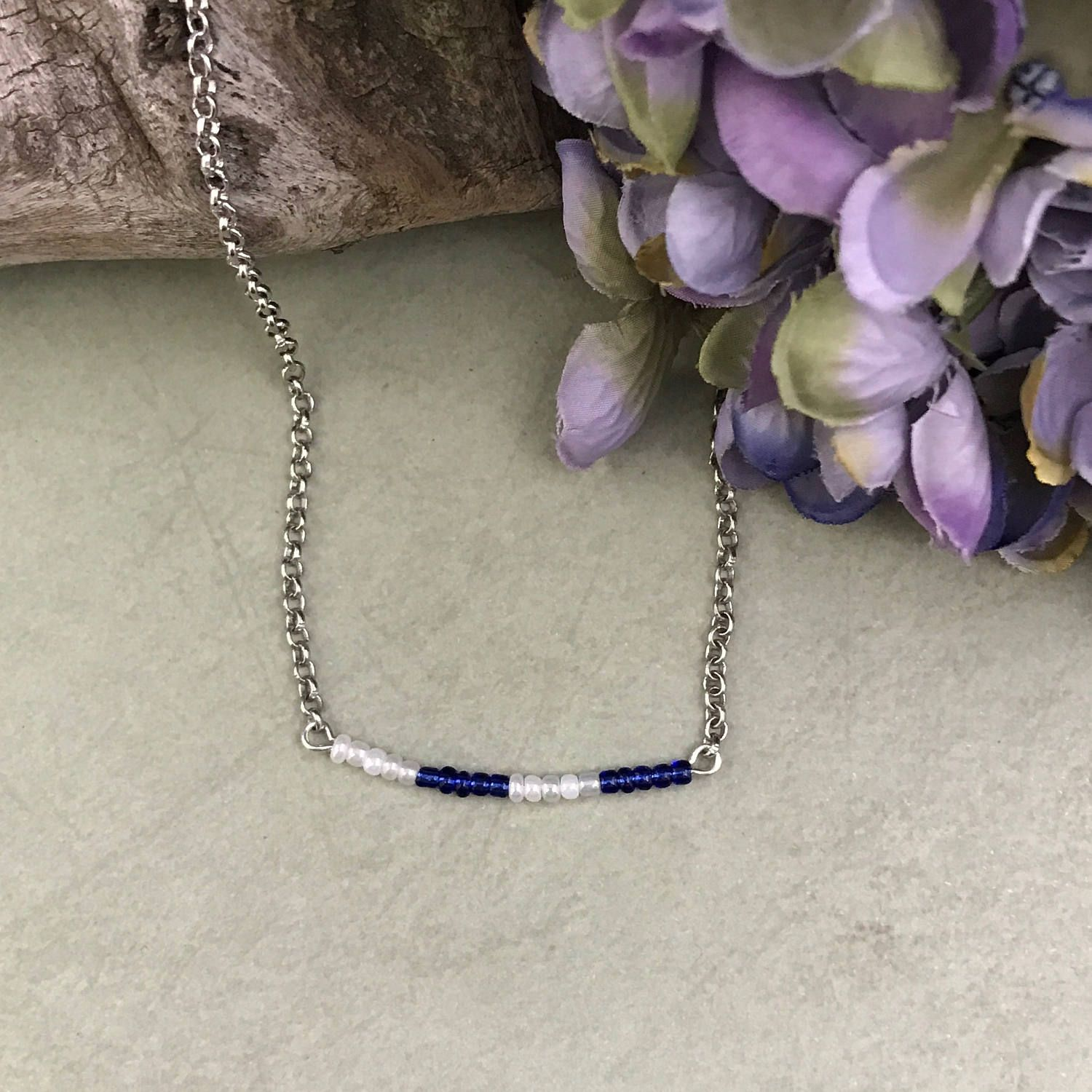Beaded Bar Necklacegift Under 20BohoTiny Bead NecklaceBlueWhiteRolo Gift For HerWedding JewelryBirthday