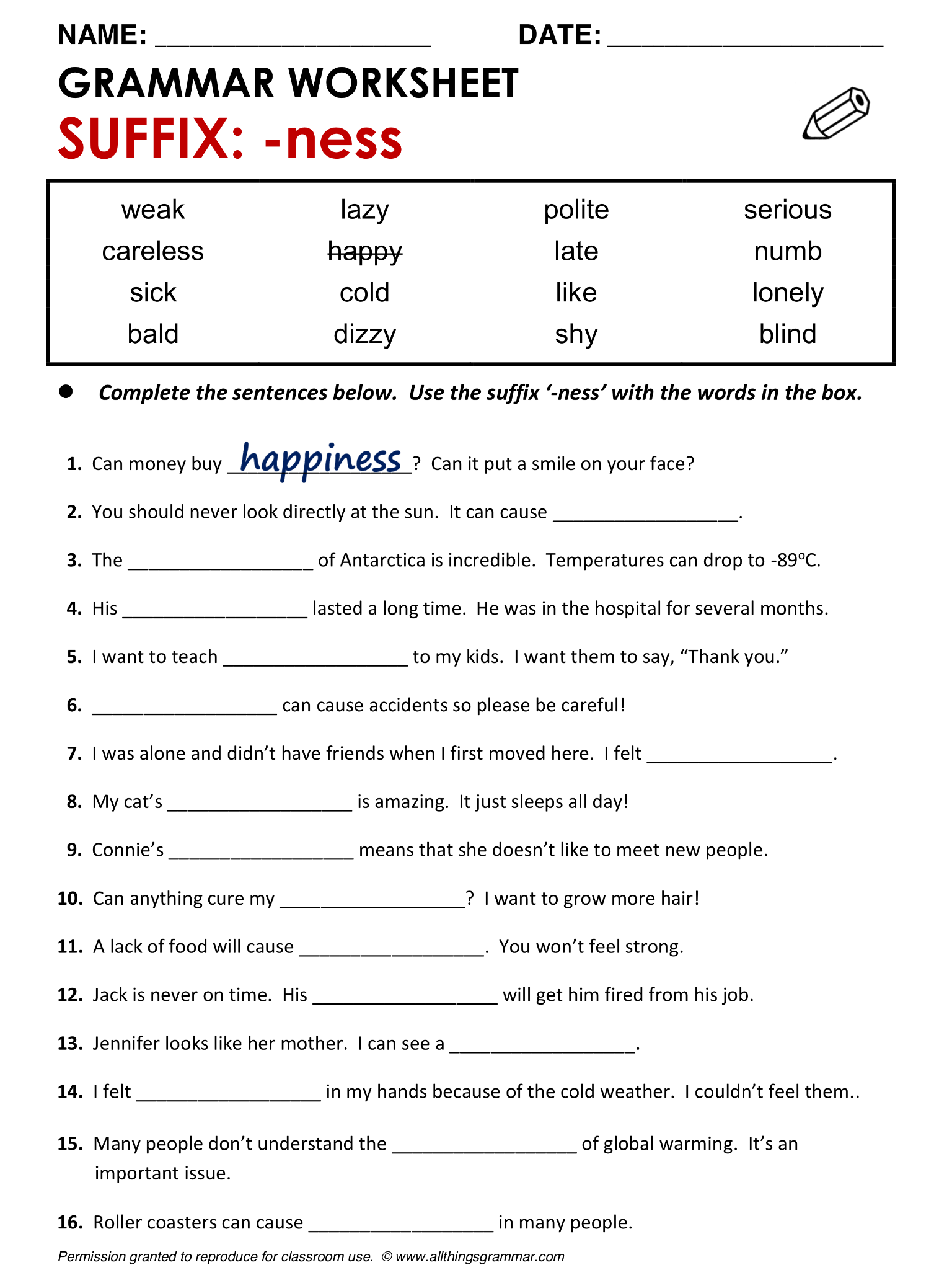 hight resolution of English Grammar Suffix: -ness www.allthingsgrammar.com/suffix--ness.html    English grammar worksheets