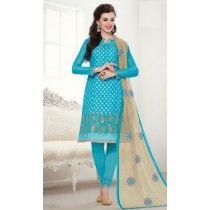 Blue Color Chanderi Jacqaurd Wedding Salwar Suit