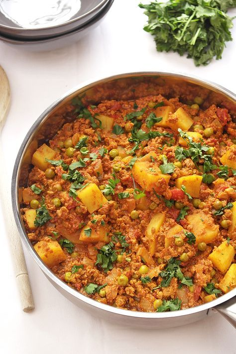 An extra tasty keema curry with peas and potatoes: a ...