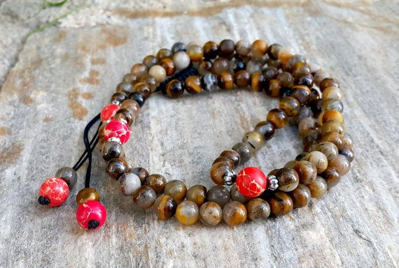 108 Mala Necklace Bronwn Tiger's Eye Necklace by GiftsCornerShop