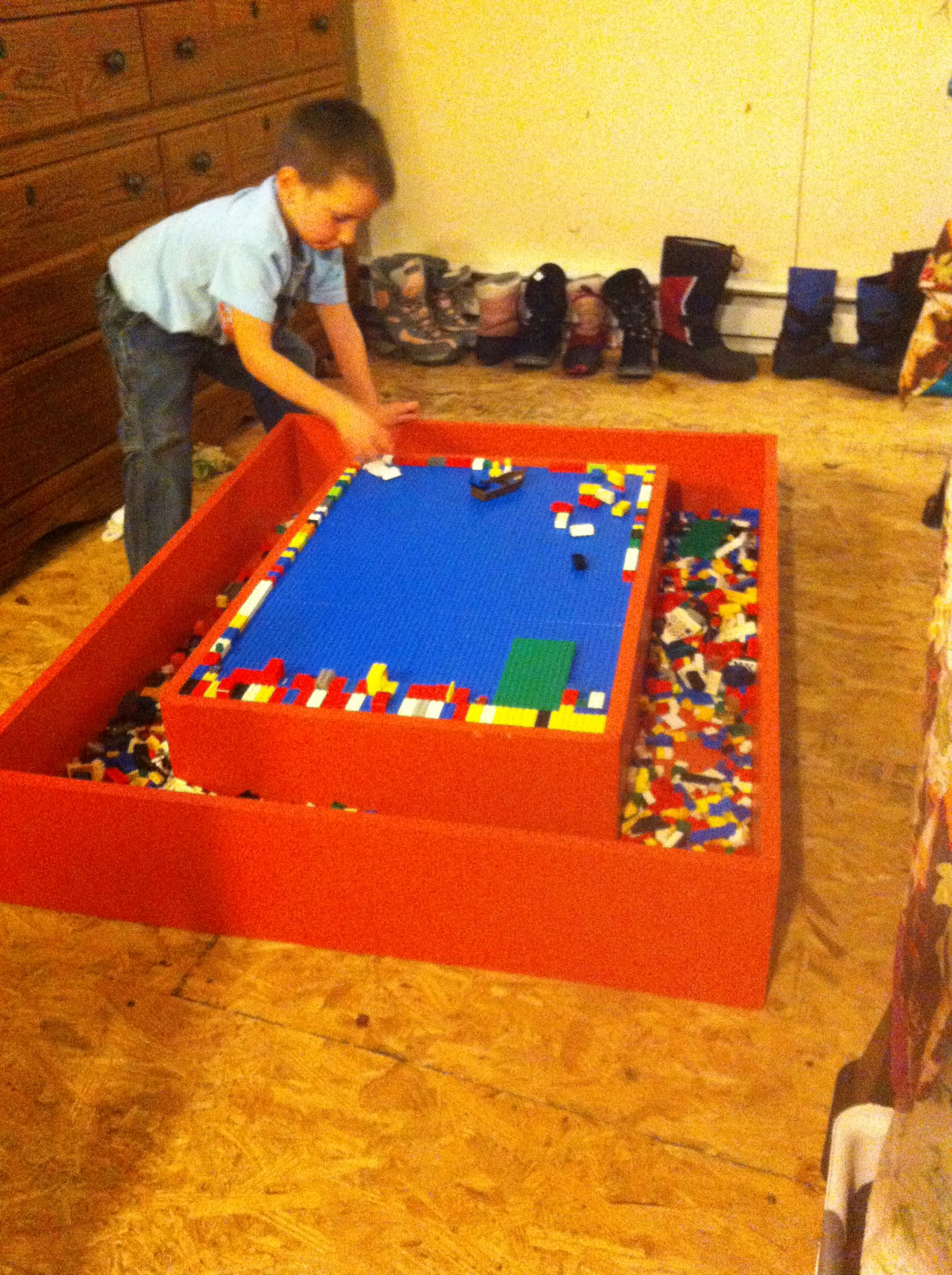 Lego Table With A Trough For The Legos Legs Can Be Added As Child Grows Made To Fit Under Bed For Easy Storage Kids Room Boys Playroom Kids Room