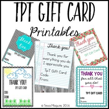 Looking to give TpT gift cards as a gift? These free printables - make your own gift certificates free