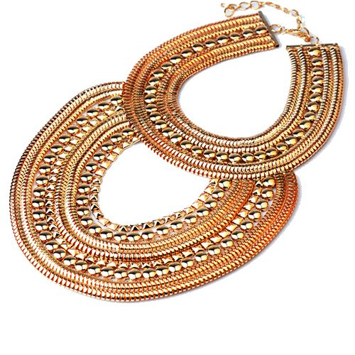 Hot sale high quality national wind Fish scales heavy necklace ( gold color )