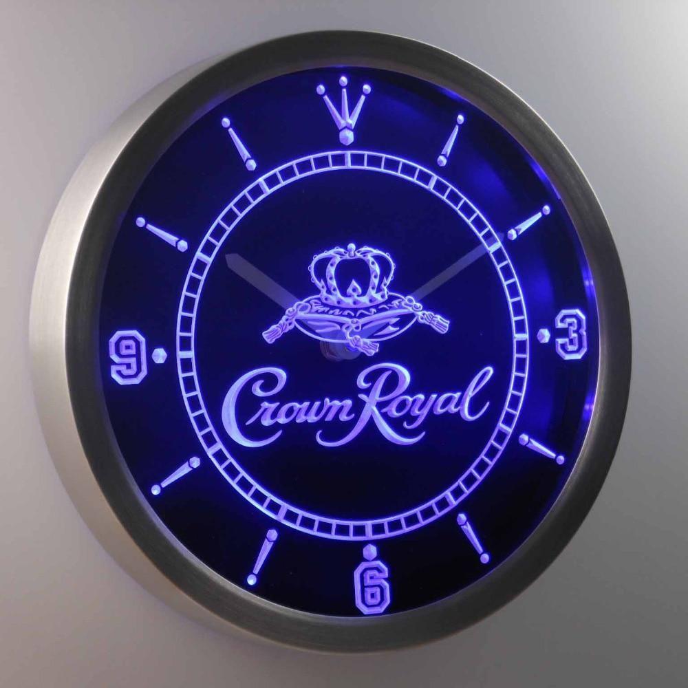 Crown Royal Whiskey Neon Sign Led Wall Clock With Images Led Wall Clock Wall Clock Custom Clocks