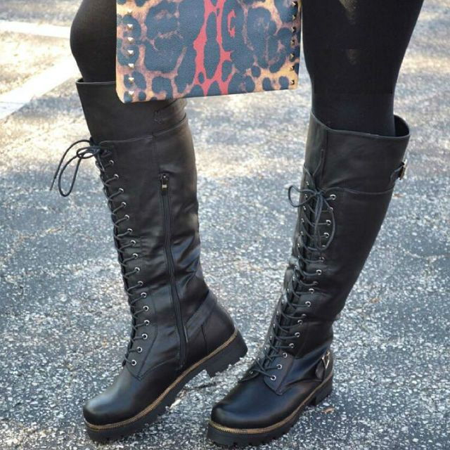 Knee High Lace Up Combat Boots   Shoes Take Me Places   Pinterest ...
