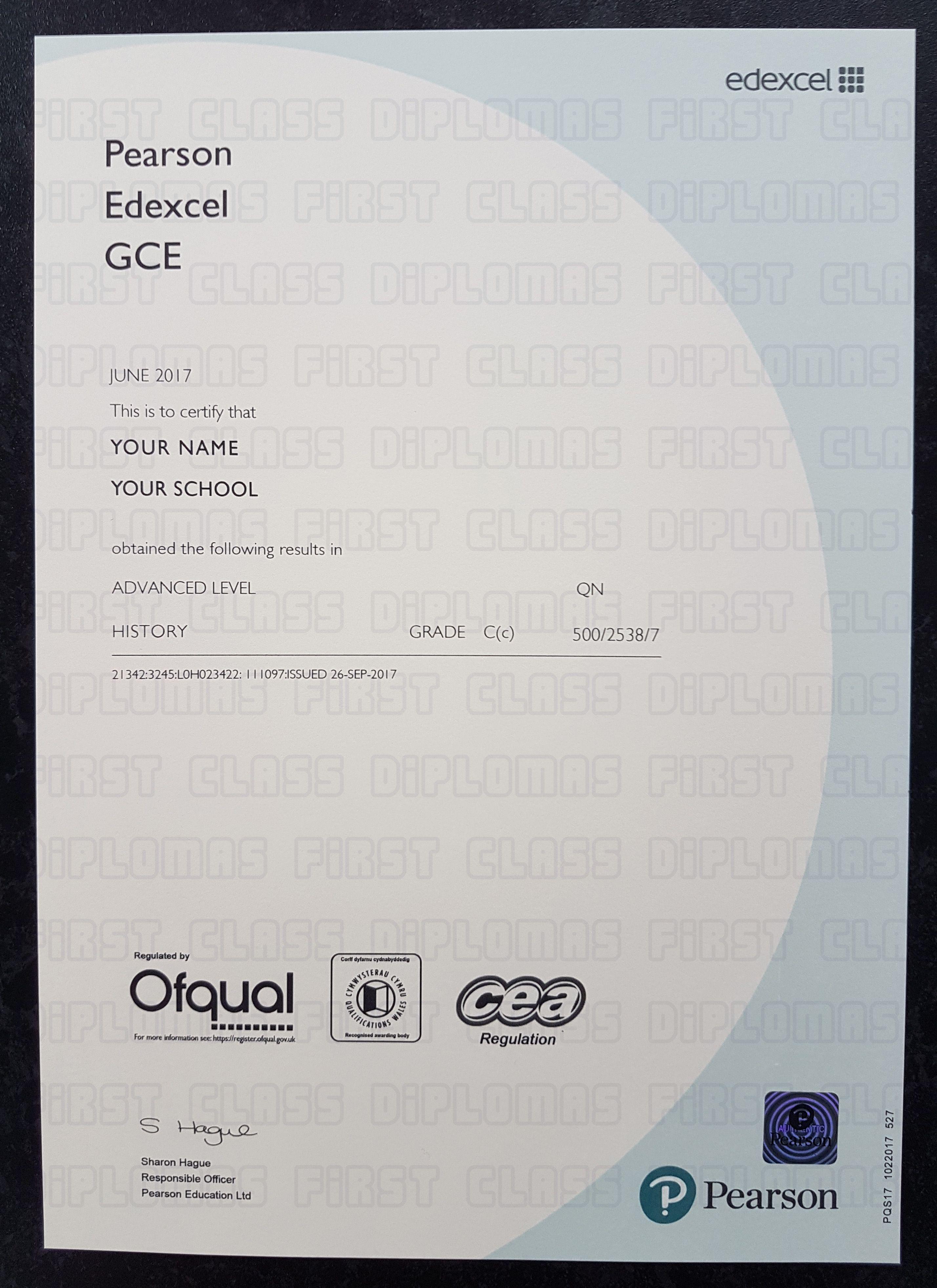 Realistic ALevel certificate template. Free worldwide