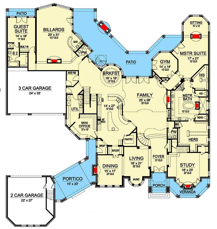 Plan 36353tx 2 Story Ceilings Abound Luxury House Plans House Plans One Story House Floor Plans