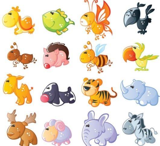 Free Set Of Cute Cartoon Animal Icons Titanui Animal Icon Cartoon Animals Cute Cartoon Animals